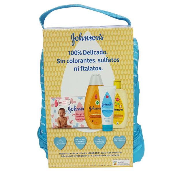 Johnson's Baby Mochila Azul + Toallitas 20uds + Champú clásico 300 ml + Colonia cítrica 200 ml + Crema de Pañal 100ml
